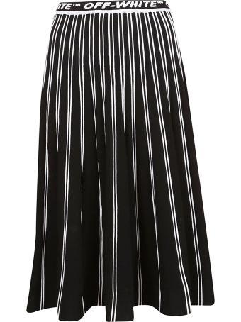 Off-White Logo Pleated Long Skirt