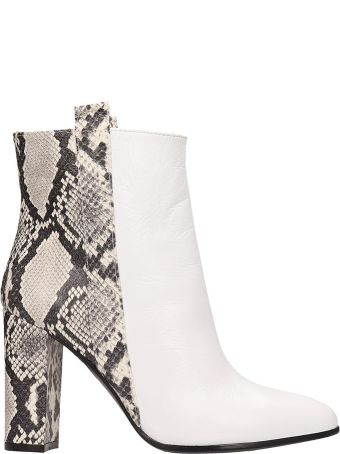 Via Roma 15 White Calf Leather Ankle Boots