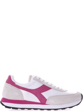 Diadora White And Pink Koala H Sneakers In Suede And Nylon