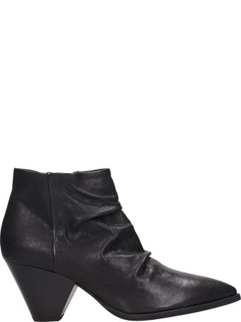 Janet & Janet Black Leather Ankle Boots