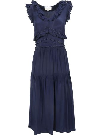 Sea Ruffled Detail Sleeveless Dress