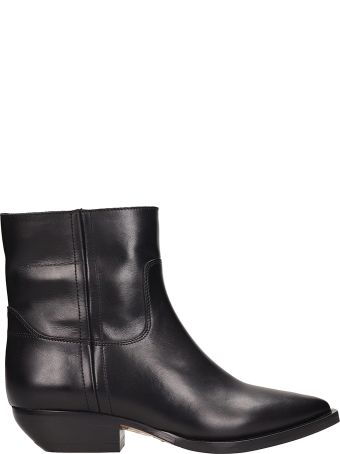 The Seller Black Leather Texan Ankle Boots