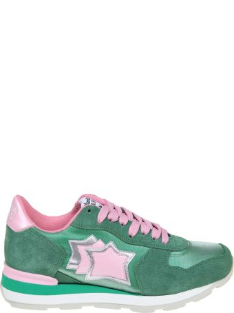 Atlantic Stars Vega Sneakers In Suede And Canvas Green And Pink