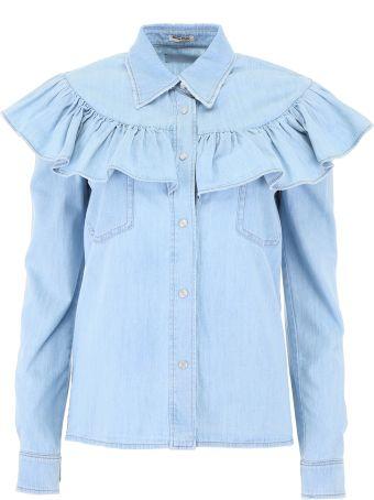 Miu Miu Ruffled Denim Shirt