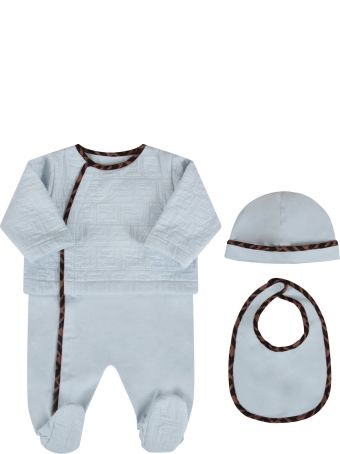 Fendi Light Blue Set With Double Ff For Baby Boy