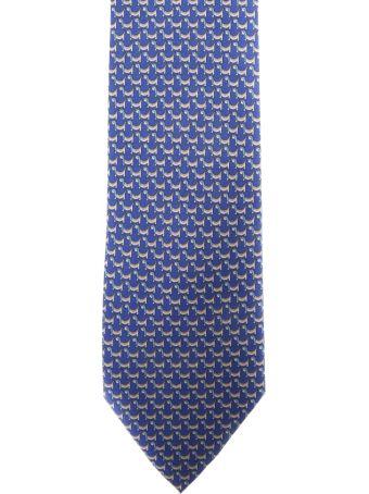 Salvatore Ferragamo Bluette Silk Gancini Printed Tie