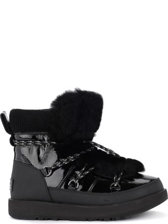 UGG Highland Black Leather, Rubber And Sheepskin Ankle Boots