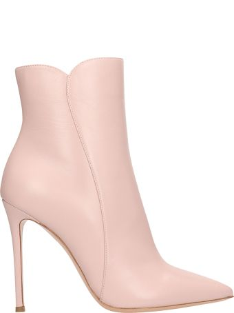 Lerre Pink Leather Ankle Boots