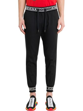 Dolce & Gabbana Stretch Jogging Pants With Wool Jacquard Inserts