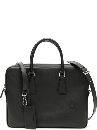 Prada Saffiano Briefcase With Maxi Logo