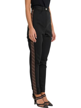Fendi Skinny Trousers With Logo Tape