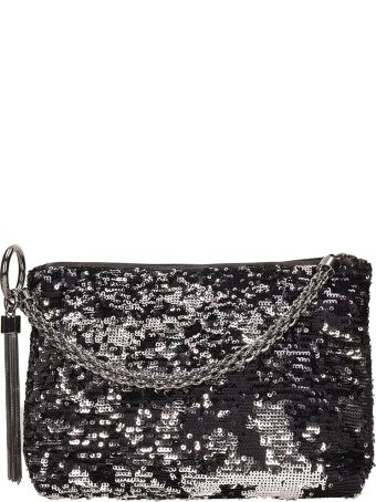 Jimmy Choo Callie Black-silver Metal Leather  Clutch Bag
