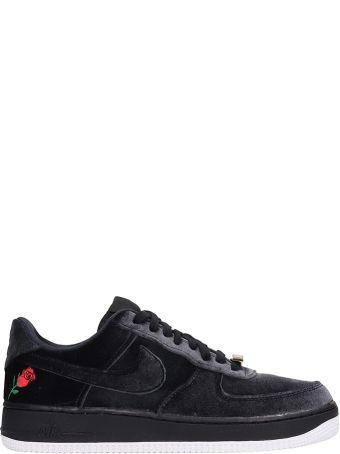 Nike Air Force 1 07 Qs Black Velour Sneakers