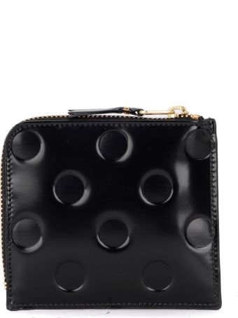 Comme des Garçons Wallet Black Shiny Printed Leather Coin Purse