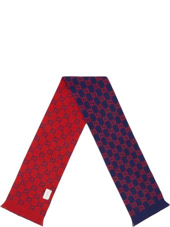 "Gucci Blue And Red Scarf With ""gg"" Pattern"