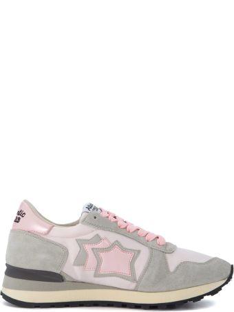 Atlantic Stars Alhena Grey Leather And Pink Nylon Sneakers