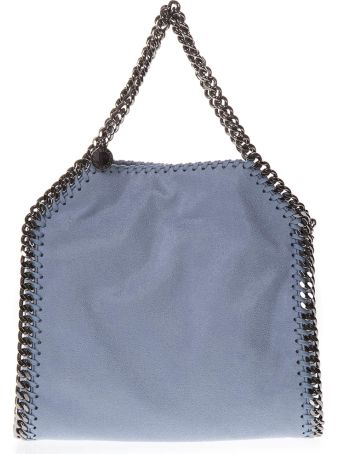 Stella McCartney Mini Three Chain Duck Blu Shaggy Faux Deer Bag