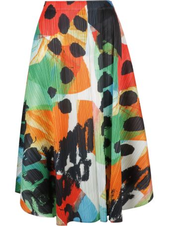 Pleats Please Issey Miyake Pleats Please By Issey Miyake Printed Pleated Skirt