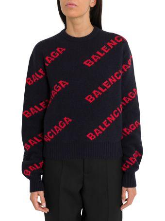 Balenciaga Oversize Jacquard Logo Sweater