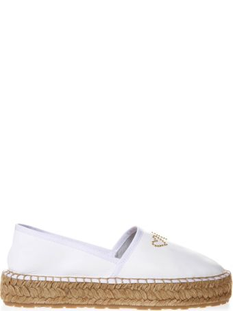 Love Moschino White Faux Leather & Straw