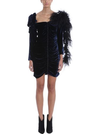 Magda Butrym Tefe Feather Trim Silk-blend Mini Dress