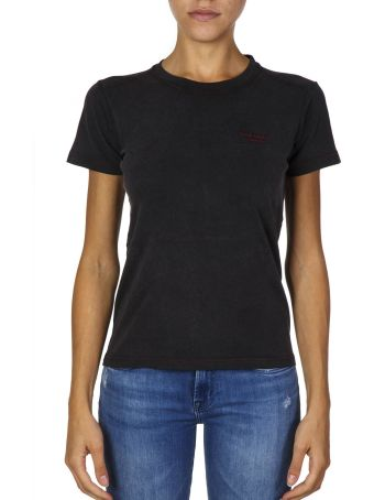 Acne Studios Black Cotton T-shirt With Embroidered Logo