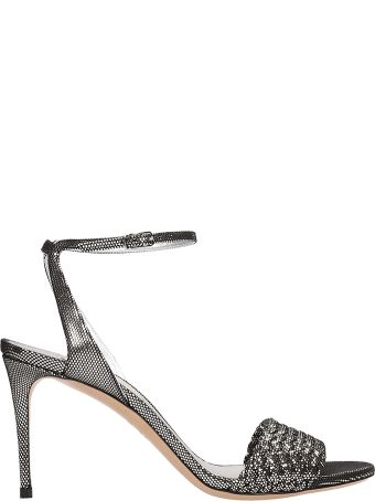 Casadei Silver Leather Tresse Sandals
