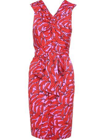Diane Von Furstenberg Delphine Windsor Palm-print Viscose-blend Midi Dress