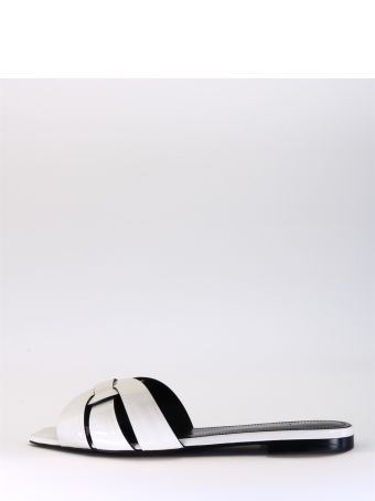 Saint Laurent Flat Tribute Sandal White