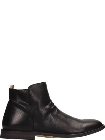 Officine Creative Black Leather Ankle Boots
