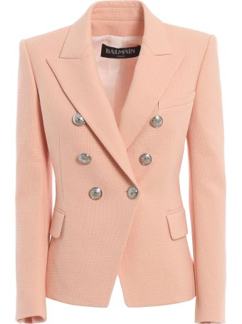 Balmain Cotton Natte Double-breasted Pink Blazer