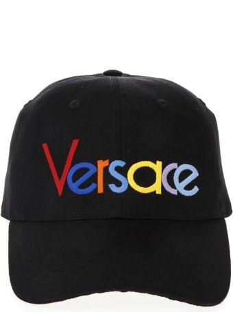 Versace Versace Black Cotton Multicolor Logo Hat
