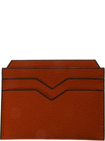 Valextra Orange Cardholder In Pebbled Leather Texture