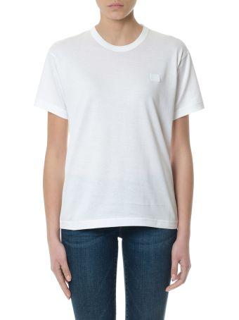 Acne Studios White Nash Optic Face T-shirt In Cotton