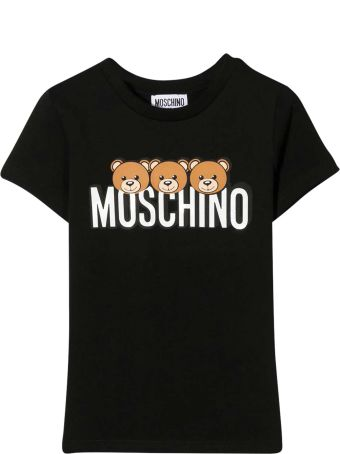 Moschino Black Teen T-shirt With Multicolor Press