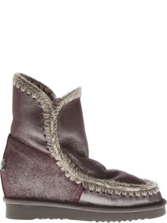 Mou Eskimo Wine Color Wool & Leather Boots
