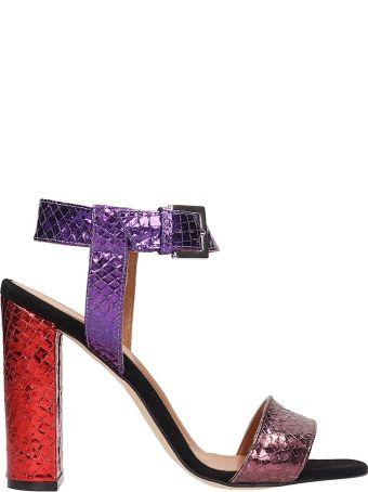 Paris Texas Purple Metallic Multicolor Python Print Leather Sandals