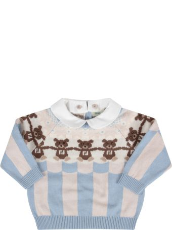 Fendi Light Blue And Beige Sweater With Bears For Baby Boy