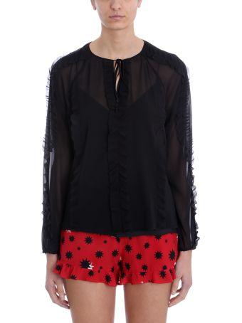 RED Valentino Black Printed Silk Chiffon Blouse