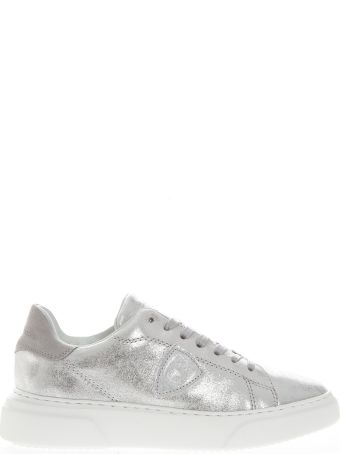 Philippe Model Silver Leather Sneakers With Suede Insert