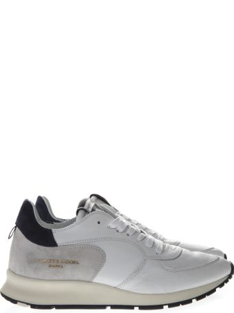 Philippe Model White Leather & Suede Sneakers With Side Logo Engraved