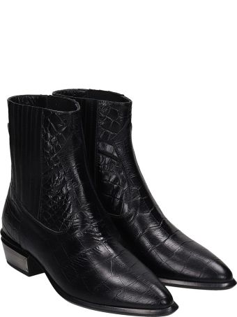 Kate Cate Cowboy Kate Ankle Boots In Black Leather