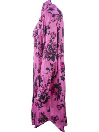 Laneus Fuchsia Long Shirt Dress