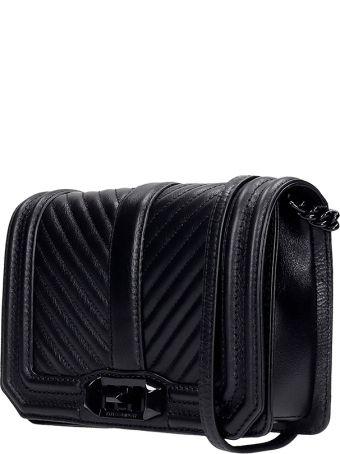 Rebecca Minkoff Chevron Quilted Shoulder Bag In Black Leather
