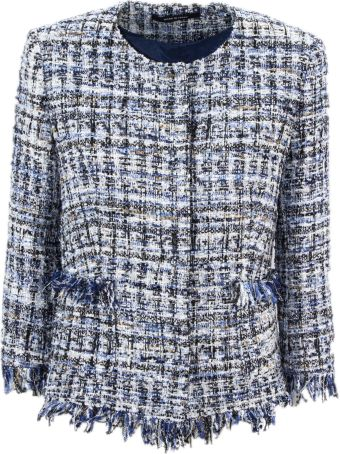 Tagliatore Blue Cotton Blend Milly Tweed Jacket