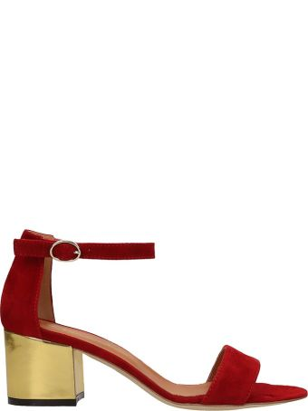 Via Roma 15 Red Suede Sandals