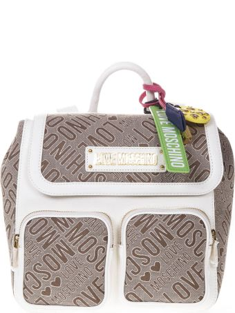 Love Moschino Backpack In Natural And White Logoed Jacquard Fabric