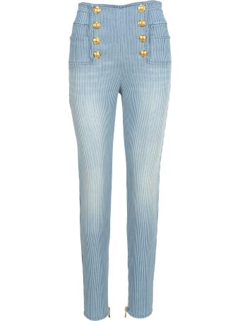 Balmain High Waist 8 Buttons Jeans