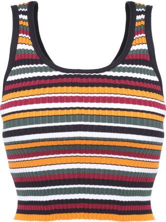 3.1 Phillip Lim Striped Rib-knit Crop Top