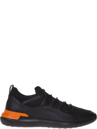 Tod's Black Sneakers In Leather And Scuba